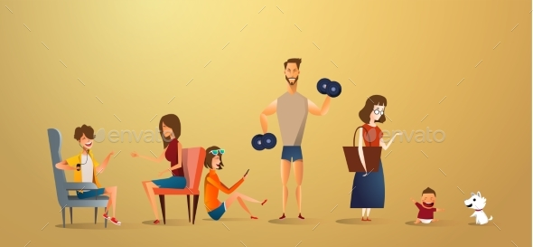 Big Traditional Family Concept Illustration