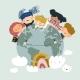 Globe Kids. International Friendship Day. Earth - GraphicRiver Item for Sale