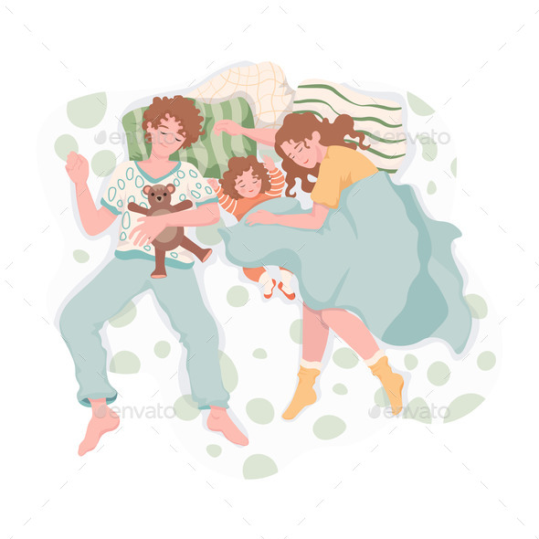 Family Resting and Hugging Each Other at Night