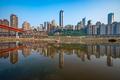Chongqing, China cityscape at the Jialing River and Qianximen Bridge - PhotoDune Item for Sale