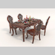 European Style Dinning Table Chair Set 2 - 3DOcean Item for Sale