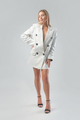 Full length portrait of blonde woman in white jacket. Studio shoot - PhotoDune Item for Sale