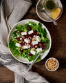 Healthy salad with beet, curd, feta and pine nuts, lettuce. Low carb keto ketogenic dash diet - PhotoDune Item for Sale