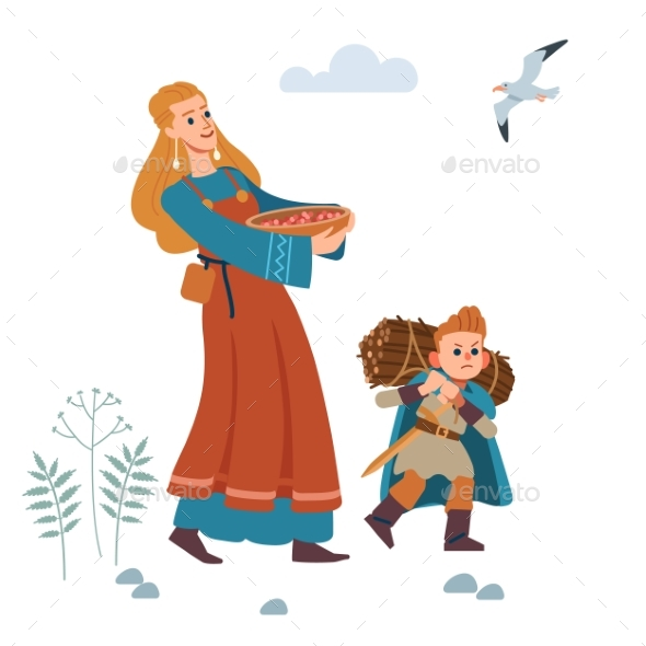 Medieval Viking Family Mother and Son