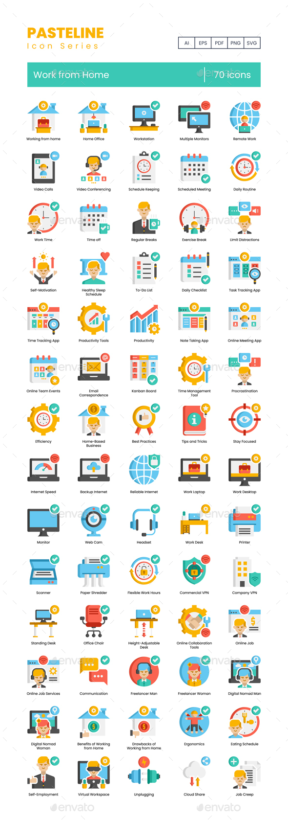70 Work from Home Icons - Pasteline Series