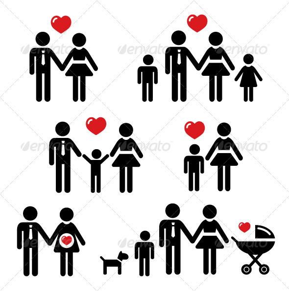 Family, relationship, pregnancy icons set