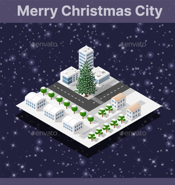 Winter Christmas Tree, New Year Is an Isometric