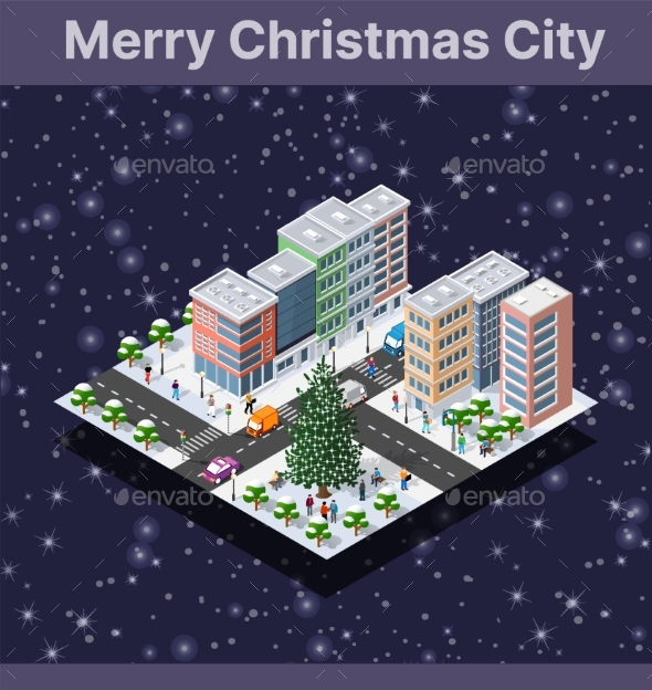 Winter Christmas Tree New Year Isometric City