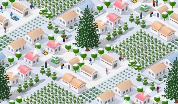 Winter Christmas Tree Seamless Background