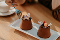 Double tiramisu dessert decorated with fresh berries, female hands with coffee - PhotoDune Item for Sale