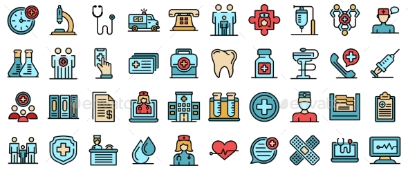 Family Health Clinic Icons Vector Flat