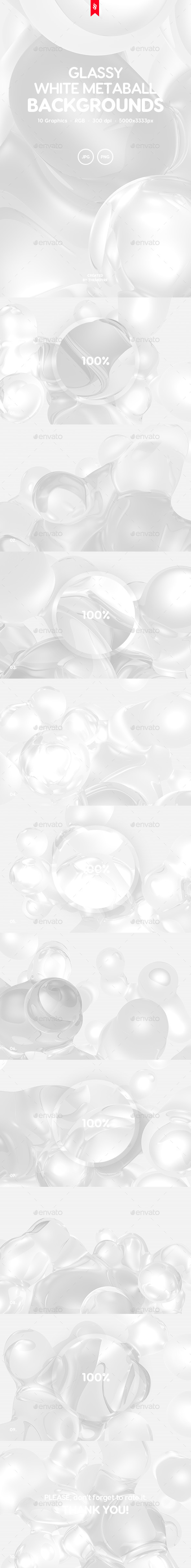 Glassy - White Metaball Backgrounds