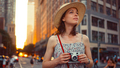 Attractive girl with a retro camera in the city - PhotoDune Item for Sale