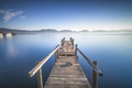 Wooden pier or jetty and lake at sunrise. Torre del lago Puccini Versilia Tuscany, Italy - PhotoDune Item for Sale