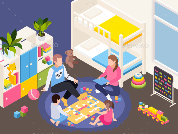 Staying Home Isometric Composition