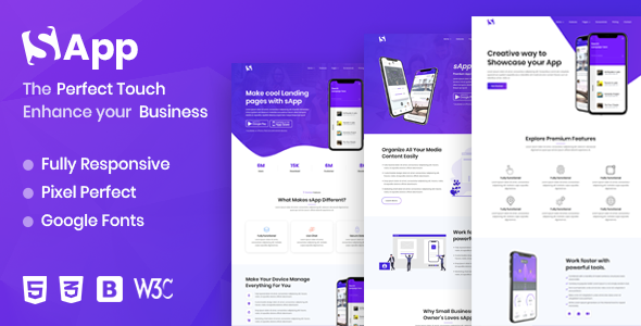 Sapp - App Landing Page