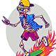 Funny Cartoon Skeleton On Skateboard - GraphicRiver Item for Sale