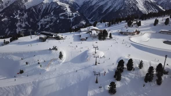 Skiers on Ski Slope in Mayrhofen Aerial