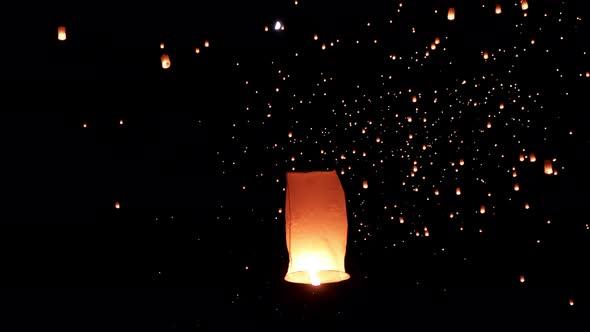 Sky Lanterns Fly Into The Night Sky