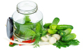 Cucumbers prepared for canning in glass jar - PhotoDune Item for Sale
