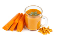 Glass of pumpkin smoothie with sea buckthorn berries isolated on white background - PhotoDune Item for Sale