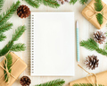 White open notepad, bullet journal and Christmas decoration lying on white wooden background, flat - PhotoDune Item for Sale