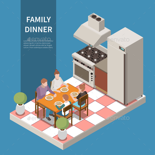 Isometric Family Leisure Playing Composition