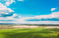 Aerial View. Sky With Clouds Above Countryside Rural Field Landscape In Spring Summer Cloudy Day - PhotoDune Item for Sale