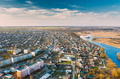 Dobrush, Gomel Region, Belarus. Aerial View Of Dobrush Cityscape Skyline In Spring Evening - PhotoDune Item for Sale