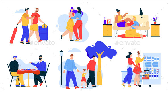 Vector Illustration of LGBT Couples or Family Set