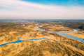 Aerial View Of Dry Grass And Partly Frozen River Landscape In Late Autumn Day. High Attitude View - PhotoDune Item for Sale