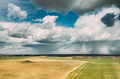 Aerial View. Amazing Natural Dramatic Sky With Rain Clouds Above Countryside Rural Field Landscape - PhotoDune Item for Sale