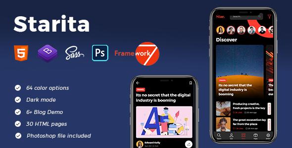 Starita - Mobile Blog App HTML Template