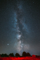 Milky Way Galaxy In Night Starry Sky Above Haystack In Summer Agricultural Field. Night Stars Above - PhotoDune Item for Sale