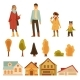 Autumn Set of Characters and Landscape Icons Flat - GraphicRiver Item for Sale