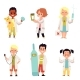 Doctors and Nurses Children Characters Set of Flat - GraphicRiver Item for Sale