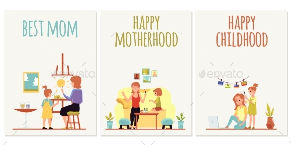 Set of Cards for Mothers Day and Children Day Flat