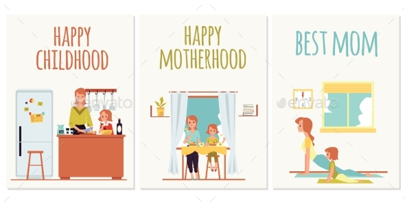 Set of Social Media Banners or Cards for Mothers