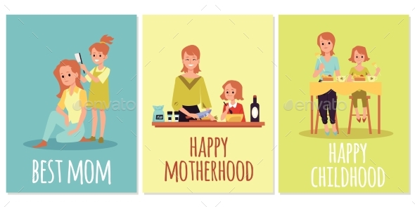 Set of Greeting Cards for Best Mom in Mothers Day