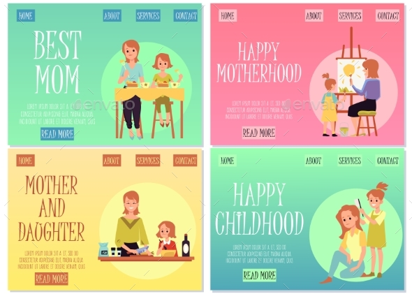 Set of Site Homepages for Mothers and Children Day