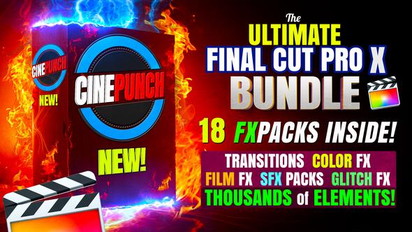 CINEPUNCH (BUNDLE) - Transitions for Final Cut Pro - SFX - Color FX - 18 PACKS - Thousands of Assets