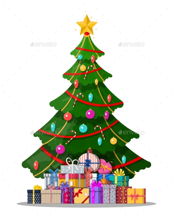 Christmas Tree Decorated and Gift Boxes