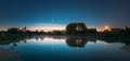 Dobrush, Belarus. Comet Neowise C2020f3 Anf Rising Moon In Night Starry Sky Reflected In Small Lake - PhotoDune Item for Sale