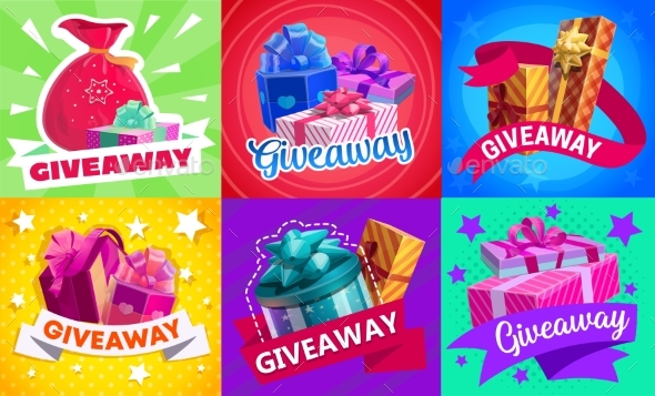 Giveaway Gift Boxes, Vector Promotion Prizes Set