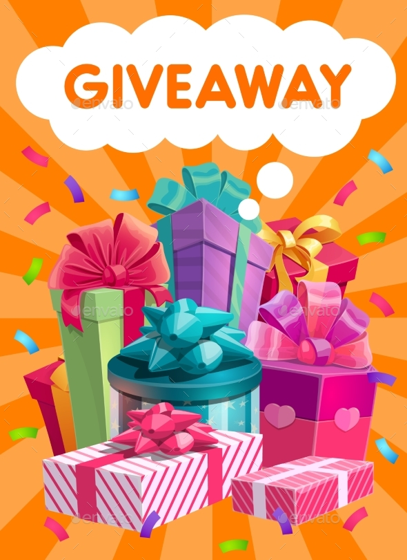 Giveaway Gifts Vector Promo, Social Advertising