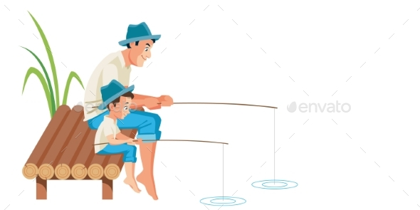 Father and Son Fishing Together Vector