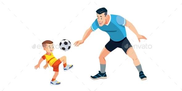 Boy and His Father Playing Football on Playground