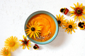 Pumpkin Creamy Soup decorated with Flowers - PhotoDune Item for Sale