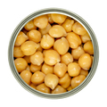 Canned chickpeas, large light tan chick peas in a can from above - PhotoDune Item for Sale