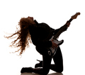 Woman squatting and clutching guitar - PhotoDune Item for Sale